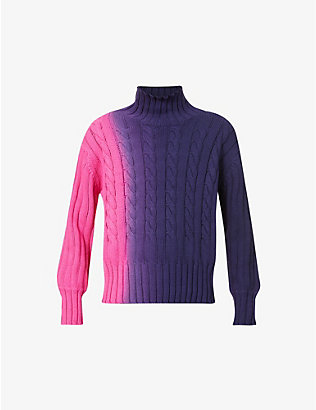 PRIVATE POLICY: Dip dye-print cotton-knit turtleneck