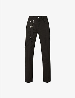 PRIVATE POLICY: Detachable-harness straight cotton-twill trousers