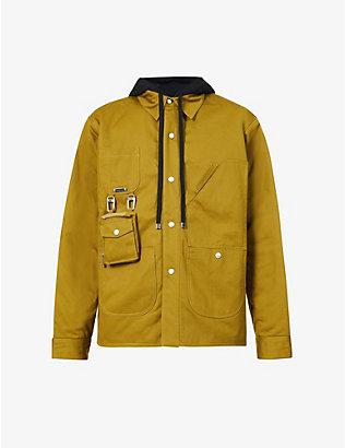 PRIVATE POLICY: Drawstring-hood cotton-twill puffer jacket