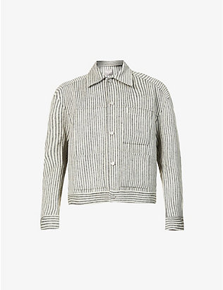 PRIVATE POLICY: Striped dropped-shoulder wool-blend jacket