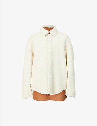 PRIVATE POLICY: Oversized dropped-shoulder shearling jacket