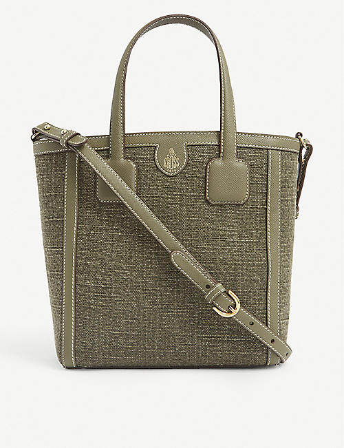 MARK CROSS: Antibes small cotton and leather tote bag