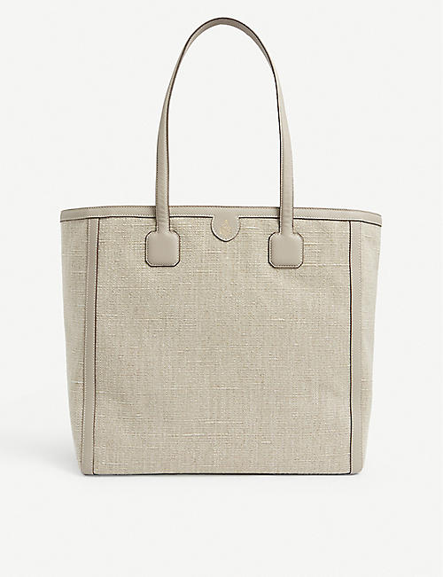 MARK CROSS: Antibes medium linen tote bag