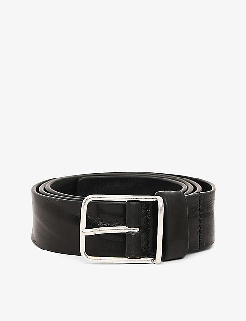 DIESEL: B-Silver leather belt