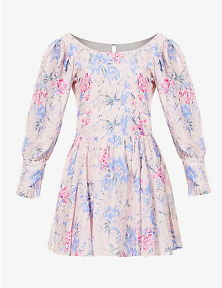 LOVESHACKFANCY: Ross floral-print cotton and silk-blend mini dress