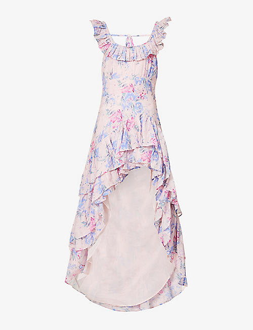 LOVESHACKFANCY: Winslow floral-print cotton and silk-blend midi dress
