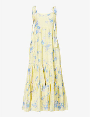 LOVESHACKFANCY: Burrows floral-print cotton and silk-blend maxi dress