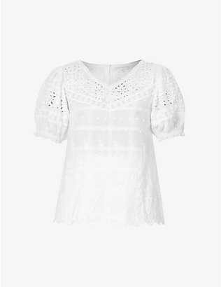 LOVESHACKFANCY: Concord broderie anglaise cotton top