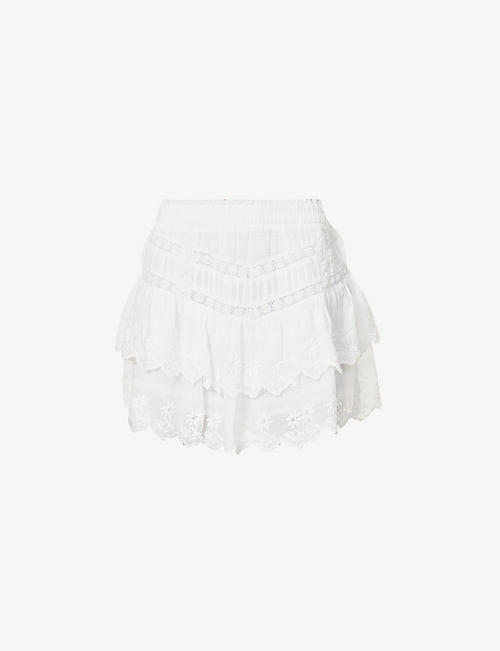 LOVESHACKFANCY: Emilia lace-trimmed high-waisted cotton mini skirt