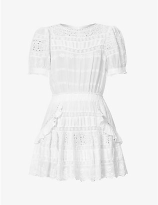 LOVESHACKFANCY: Augustine broderie pattern cotton mini dress