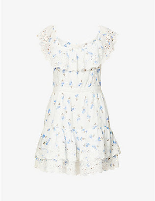 LOVESHACKFANCY: Denver floral-print cotton mini dress