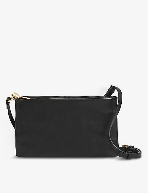 ALLSAINTS: Mila double-pouch leather cross-body bag
