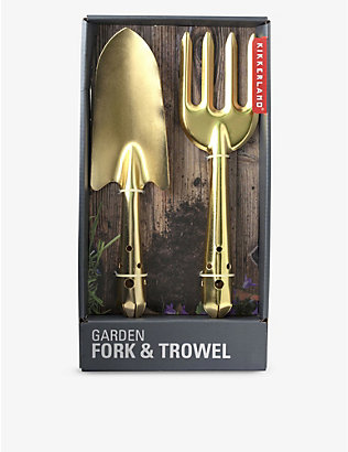 KIKKERLAND: Miniature garden brass and stainless steel tool set