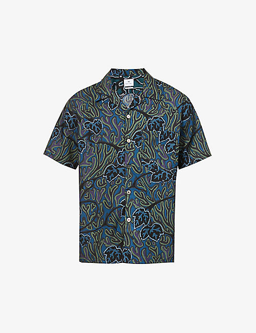 PS BY PAUL SMITH: Leaf print casual-fit woven shirt