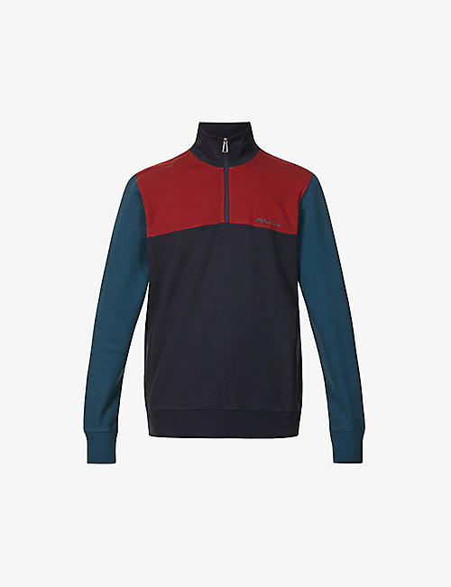 PS BY PAUL SMITH: Colour-block half-zip cotton-blend jumper