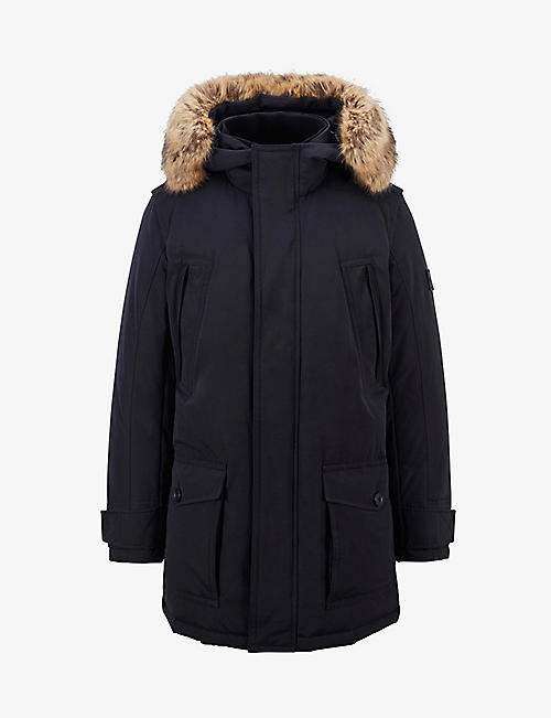 BOSS: Relaxed-fit faux fur-trim hooded shell parka coat