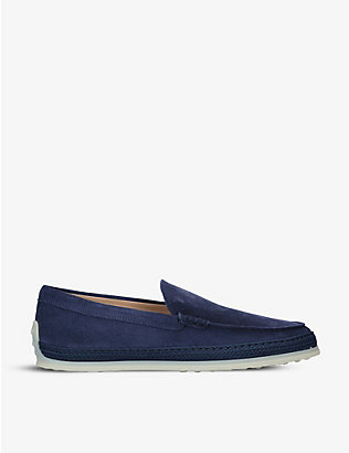 TODS: Raffia-midsole suede loafers