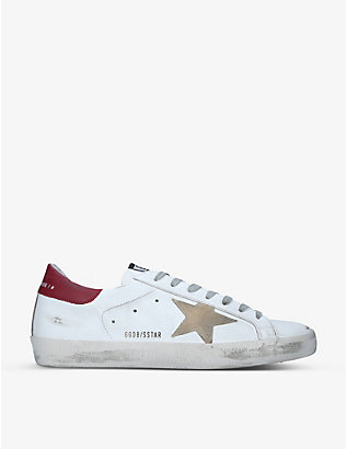 GOLDEN GOOSE: Men's Superstar distressed leather low-top trainers