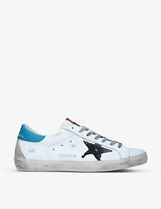 GOLDEN GOOSE: Superstar distressed leather low-top trainers