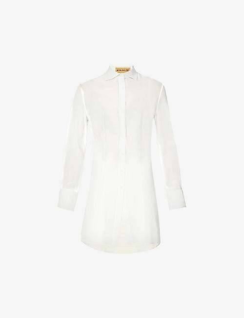 AYA MUSE: Longline sheer silk-chiffon shirt