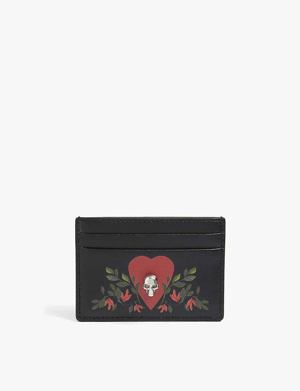 ALEXANDER MCQUEEN: Graphic-print leather card holder