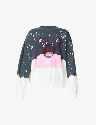 LA DETRESSE: Graphic-pattern oversized cotton-blend sweatshirt