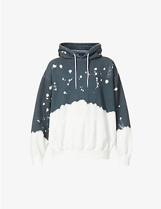 LA DETRESSE: Graphic-pattern distressed cotton-blend hoody