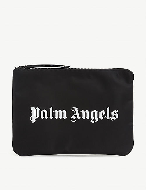PALM ANGELS: Logo-print woven pouch