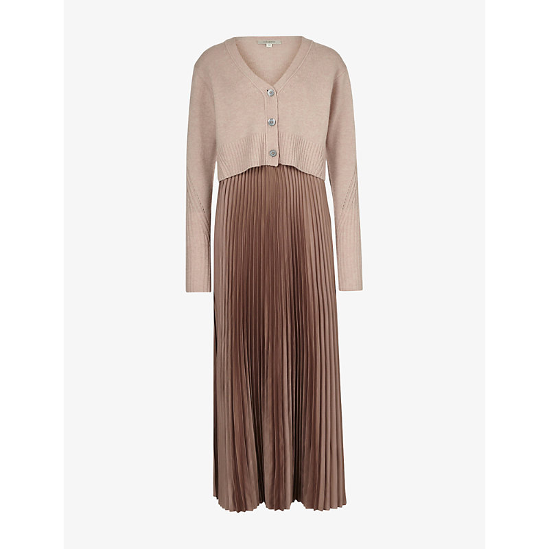 Allsaints Dresses ANDREA 2-IN-1 RECYCLED POLYESTER AND WOOL-BLEND MIDI DRESS