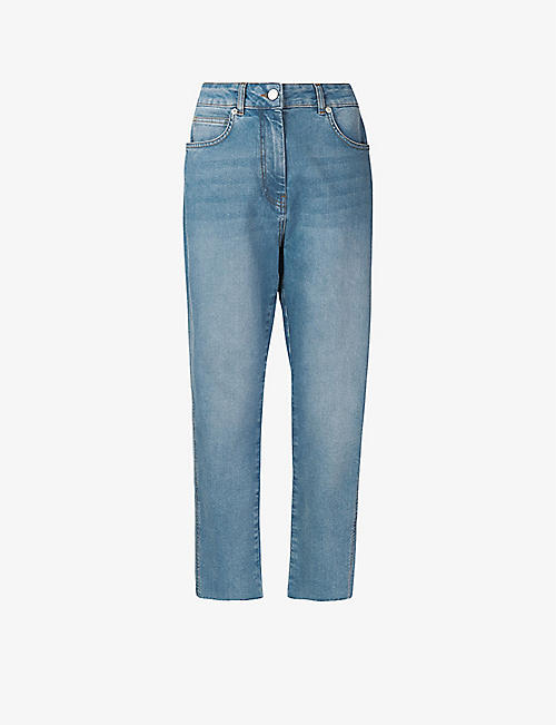 WHISTLES: Slim-fit faded stretch-denim jeans