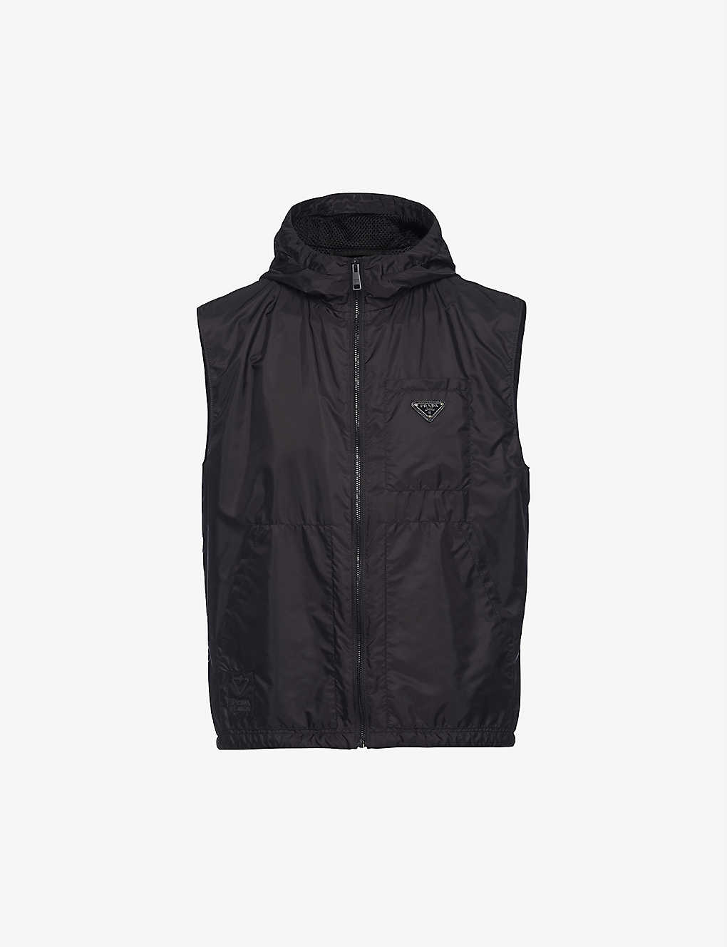 PRADA: Logo-plaque recycled nylon gilet