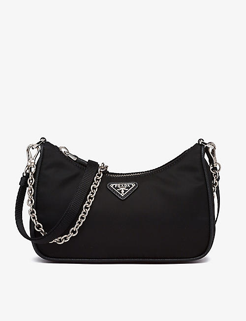 PRADA: Chain-embellished leather and recycled-nylon shoulder bag