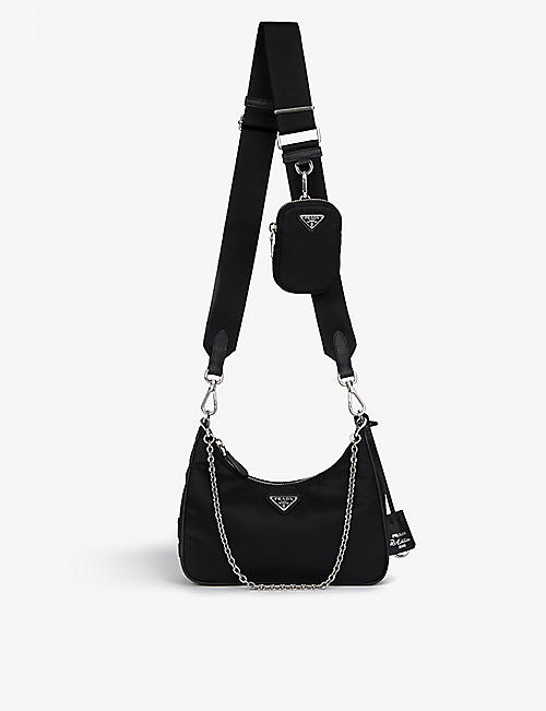 PRADA: Leather and recycled-nylon shoulder bag