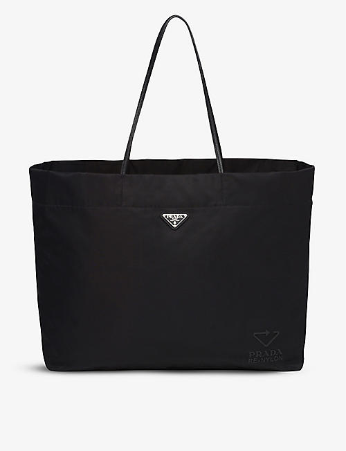 PRADA: Leather and recycled-nylon large tote