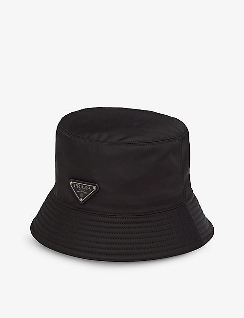 PRADA: Ribbed-trim brand-plaque recycled-nylon bucket hat