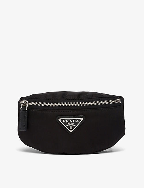 PRADA: Mini leather and recycled-nylon pouch