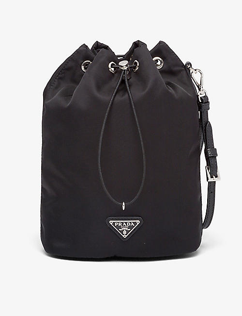PRADA: Logo-plaque recycled nylon washbag
