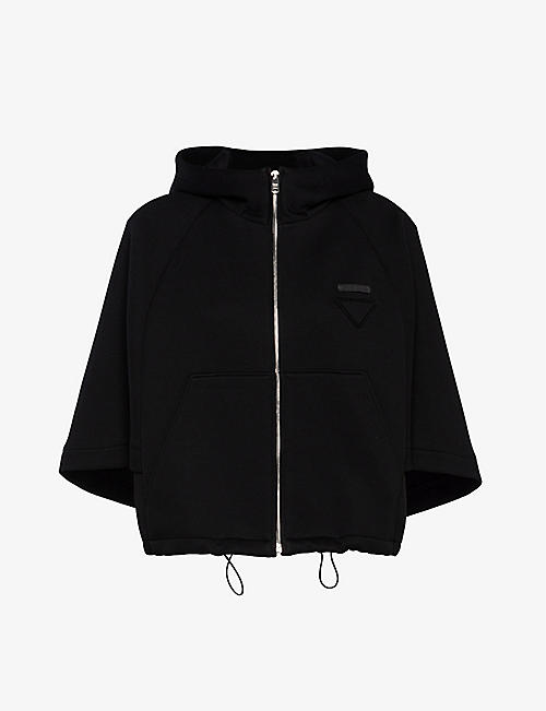 PRADA: Logo-patch cotton-blend jacket