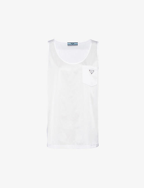 PRADA: Logo-patch sleeveless recycled-nylon and cotton top