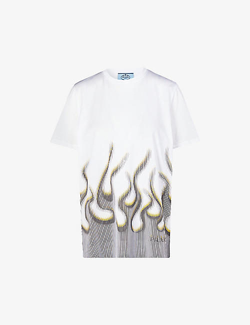 PRADA: Graphic-print cotton-jersey T-shirt
