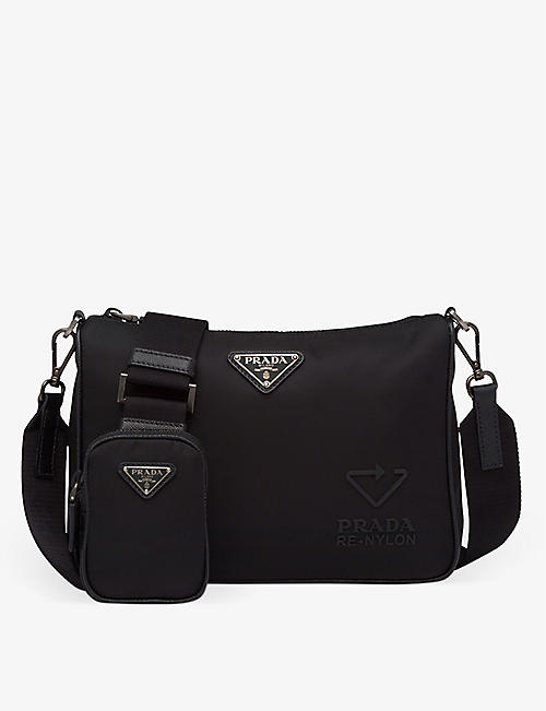 PRADA: Logo-embossed recycled-nylon, rubber and leather shoulder bag
