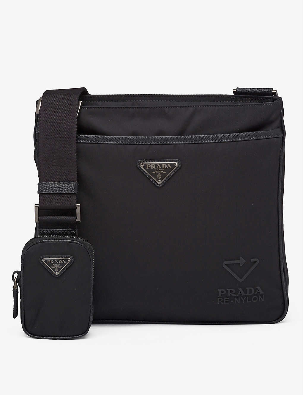 PRADA: Logo-embossed recycled-nylon and leather shoulder bag