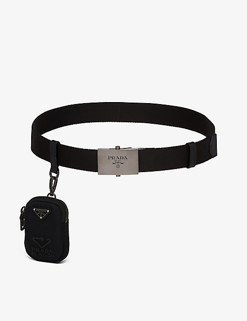 PRADA: Logo-engraved buckle recycled-nylon belt with pouch