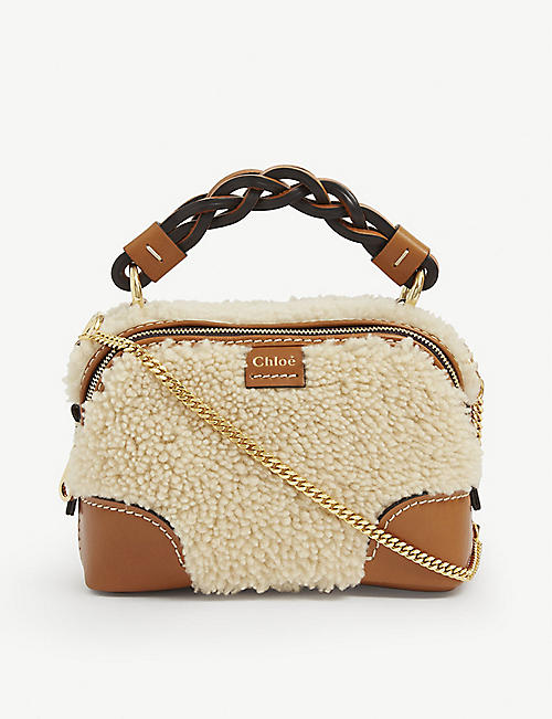 CHLOE: Daria mini shearling cross-body bag
