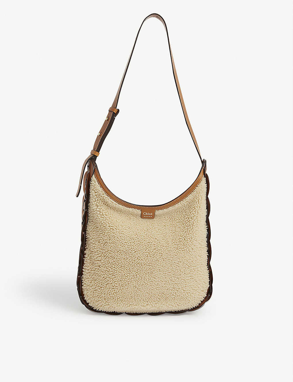 CHLOE: Darryl medium shearling and leather shoulder bag