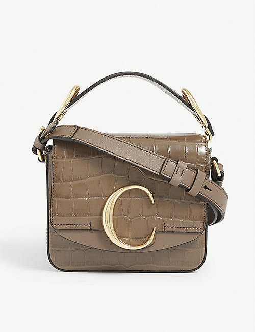CHLOE: C Toaster croc-embossed mini leather shoulder bag