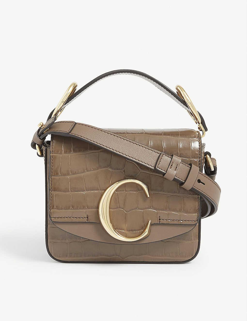 CHLOE: C Toaster croc-embossed mini leather shoulder bag