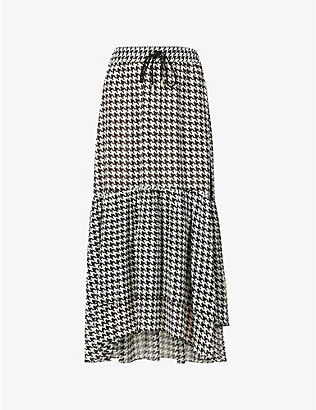 ME AND EM: Tiered houndstooth-checked crepe maxi skirt
