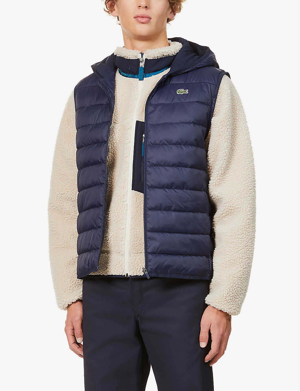 LACOSTE: Padded shell hooded gilet