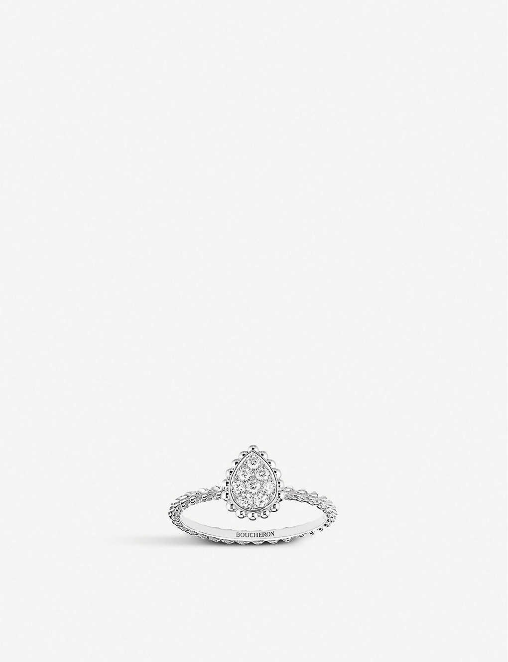 BOUCHERON: Serpent Bohème 18ct white-gold and 0.15ct diamond ring